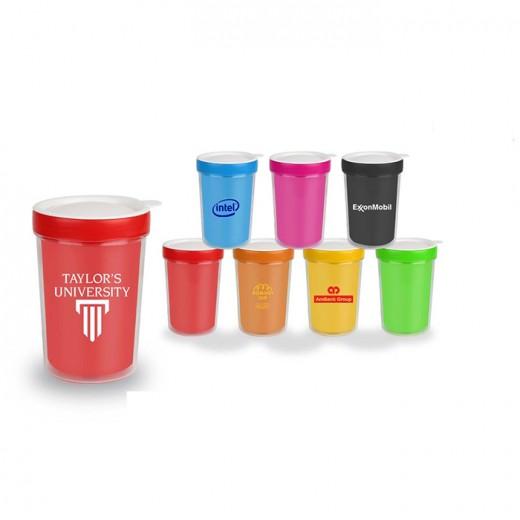 Double Wall Plastic Mug with Lid - 532ml