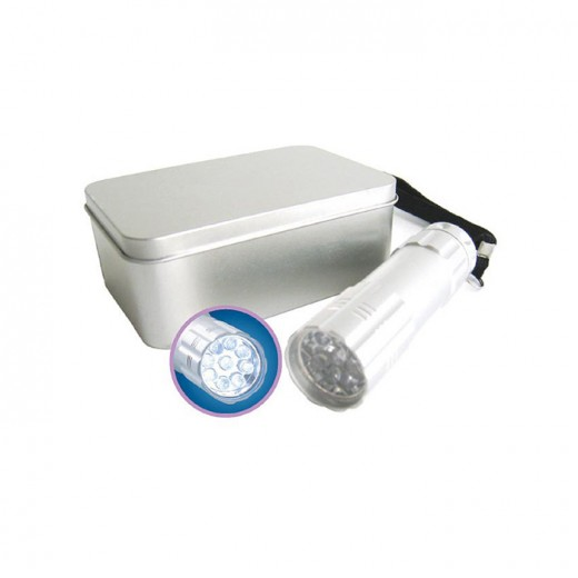 9 Bulbs LED Torch Light with Tin Box