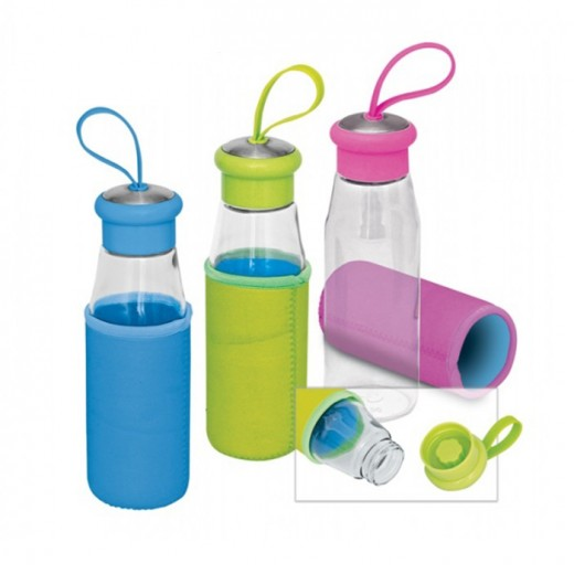 Glass Drinking Bottle with Pouch - 420ml