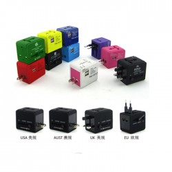 Colorful Universal Traveler Adapter with Dual USB