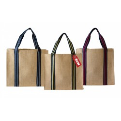 Exclusive Jute Bag with Stripe Handle