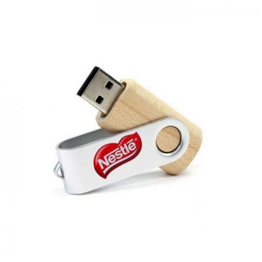 Metal Swivel Wooden USB Flash Drive